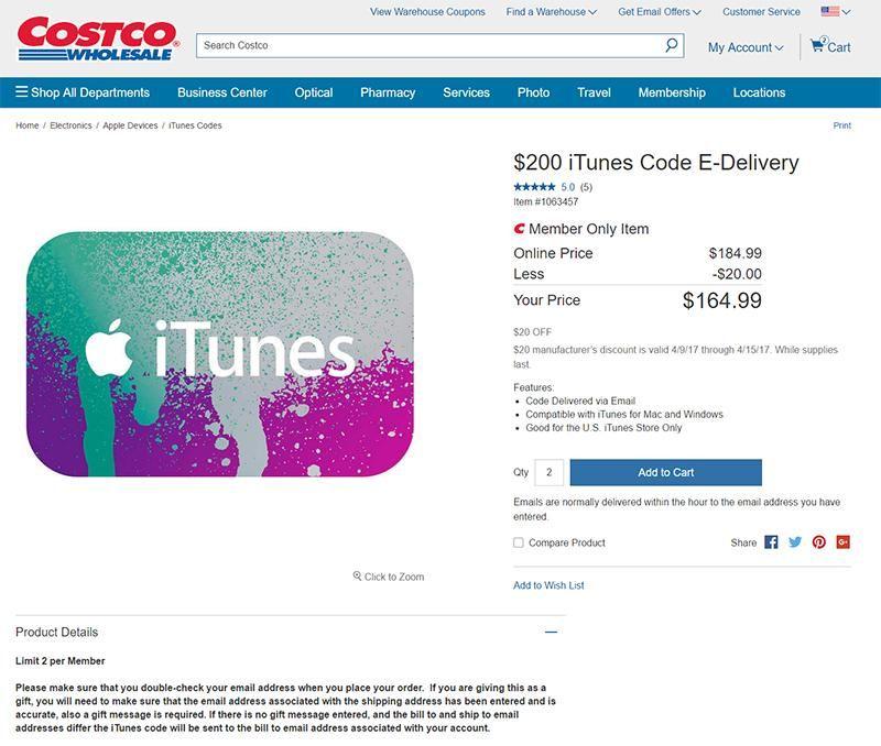 U.S. iTunes gift cards discounted until 04/15/17 @ costco.com. 20 ...