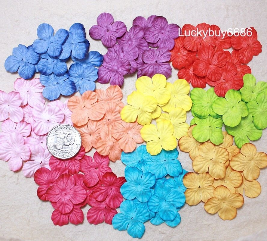 100mix 10color Hydrangea Scrapbook Craft Diy Mulberry Paper Flower