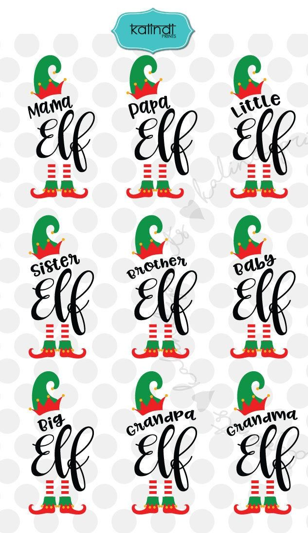 Christmas Family Elf Bundle, svg, dxf, EPS, PNG, C