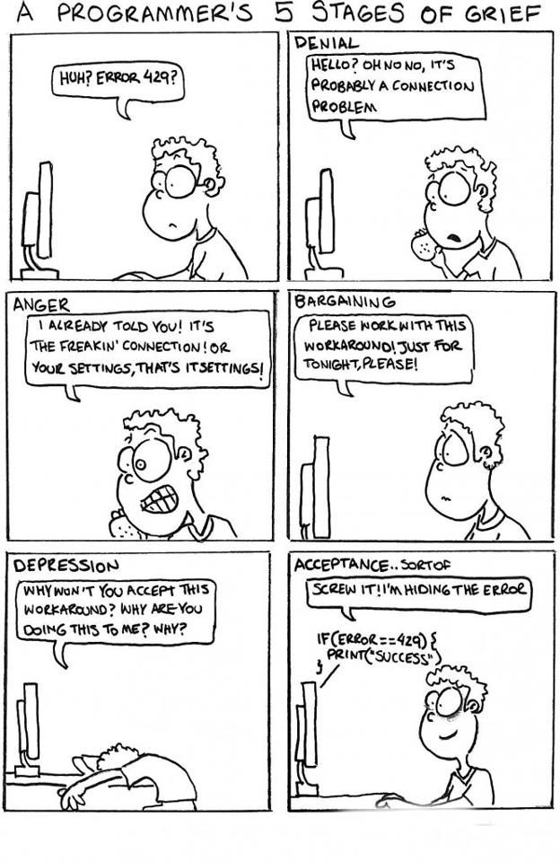 A Programmer S 5 Stages Of Grief Computer Humor