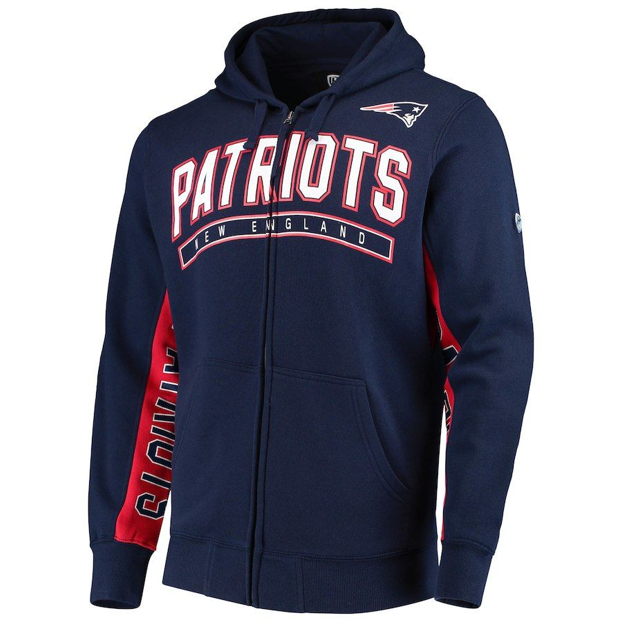 Men S New England Patriots Hands High Navy Red Blowout Full Zip Hoodie New England Patriots Gear England Patriots Patriots