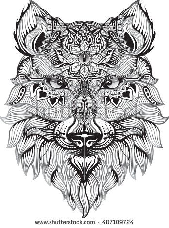 Detail Zentangle Wolf For Coloring Page Tattoo T Shirt Design Effect And Logo Wolf Colors Zentangle Image