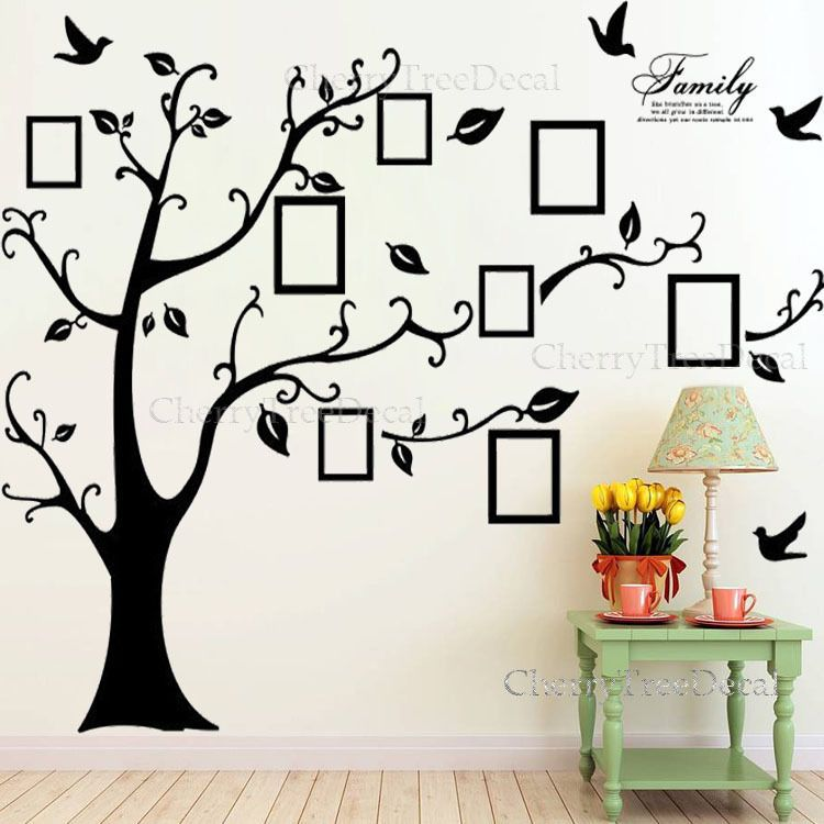 Charming X Large Family Tree Birds Photo Frame Quotes Wall Stickers Art Decals Home  Decor