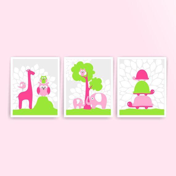 Printable DIY Girl Nursery Art Hot Pink Lime by KidsPrintablesDIY