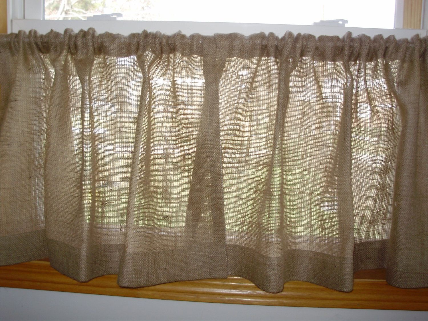 Pair of burlap cafe curtains up to length at great fabrications