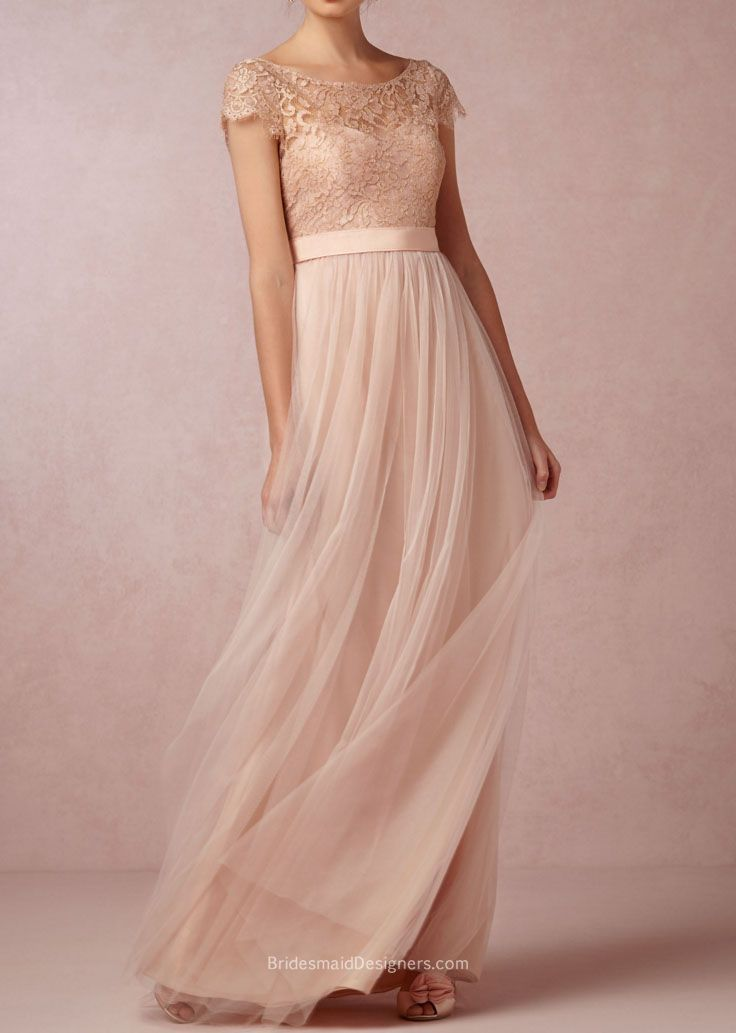 This elegant dusty rose bridesmaid dress is composed of illusion lace  bodice and ethereal tulle skirt. Intricate lace covers bodice with illusion  boat ... 5e81c029b3c