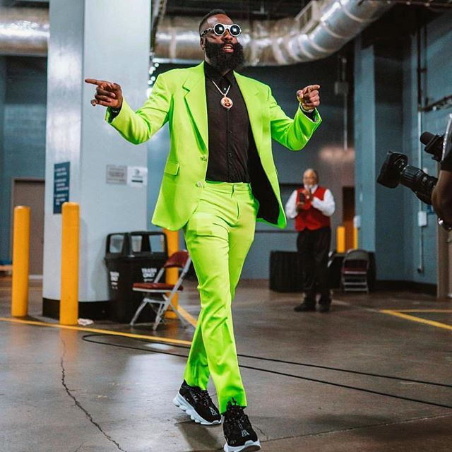 a17363631281 JAMES VERSACE  jharden13  versace  JamesHarden wearing a awesome neon green   Versace suit    VersaceChainReaction sneakers for the  houstonrockets vs  ...