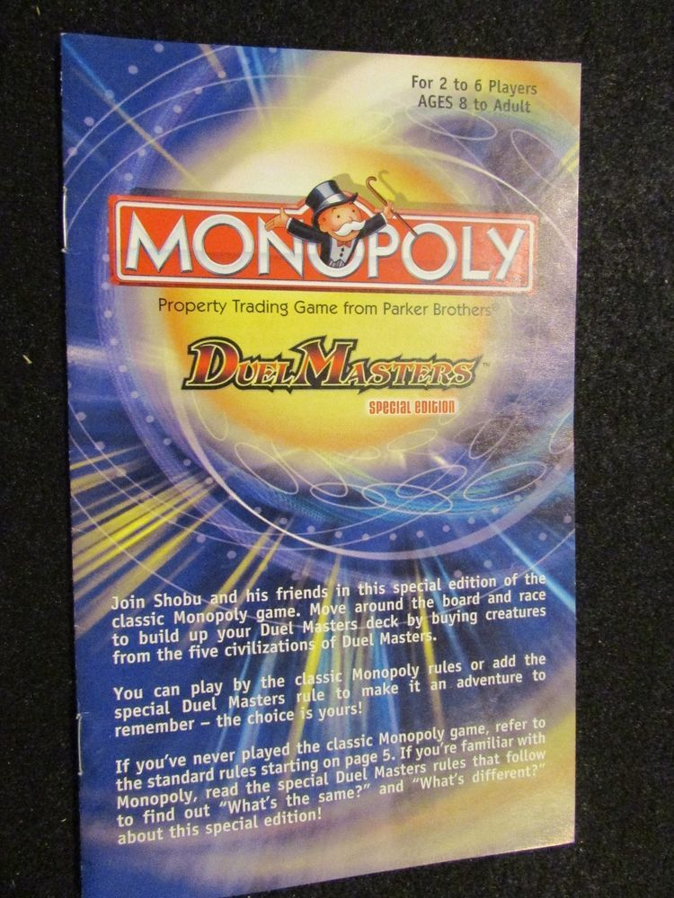 2004 Monopoly Dual Master Special Edition Instructions Pinterest