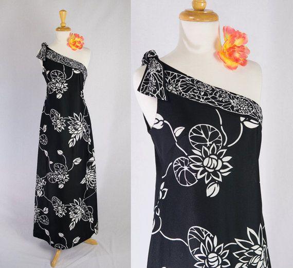 Vintage 60's HAWAIIAN Maxi Dress Black & White One by madvintage