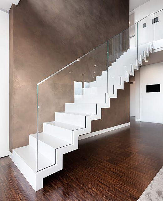 Glasgeländer Treppe markiewicz i faltwerktreppe corian treppe glasgeländer modell rs 105