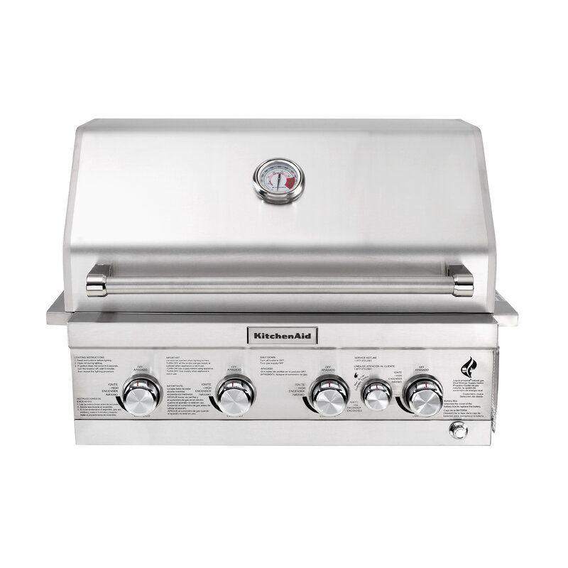 Kitchenaid 4 Burner Built In Propane Gas Grill Outdoor Kitchen Design Propane Gas Grill Modular Outdoor Kitchens