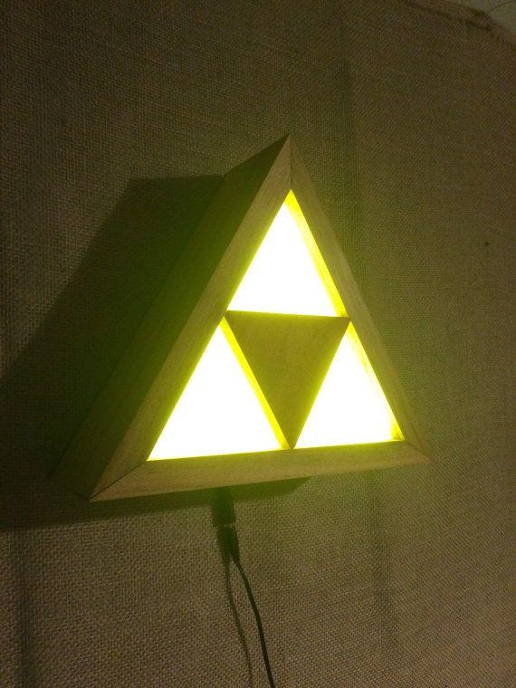 100% Handmade Wooden #Triforce Lamp Legend Of By NerdWoodDesigns