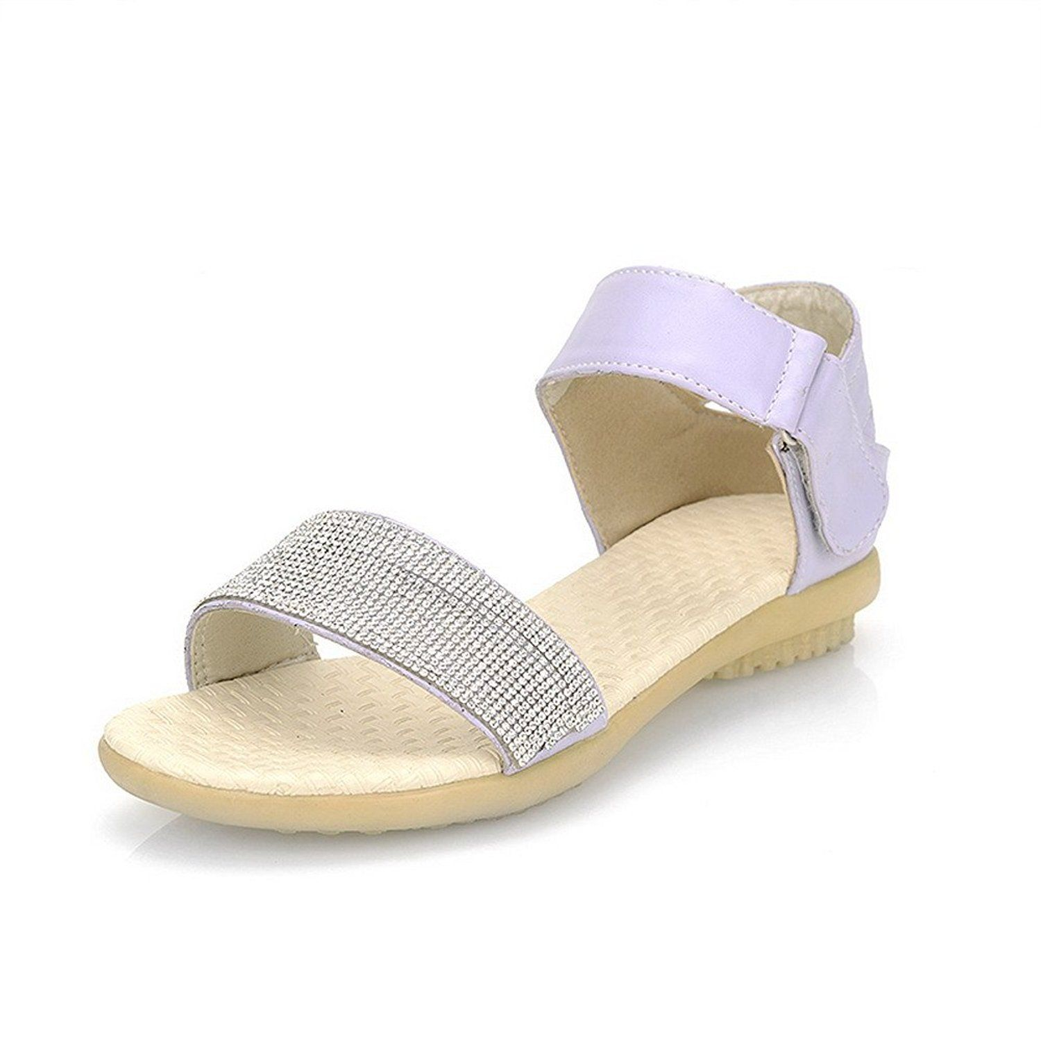 Womens Open Toe Soft Material PU Solid Sandals with Buckle