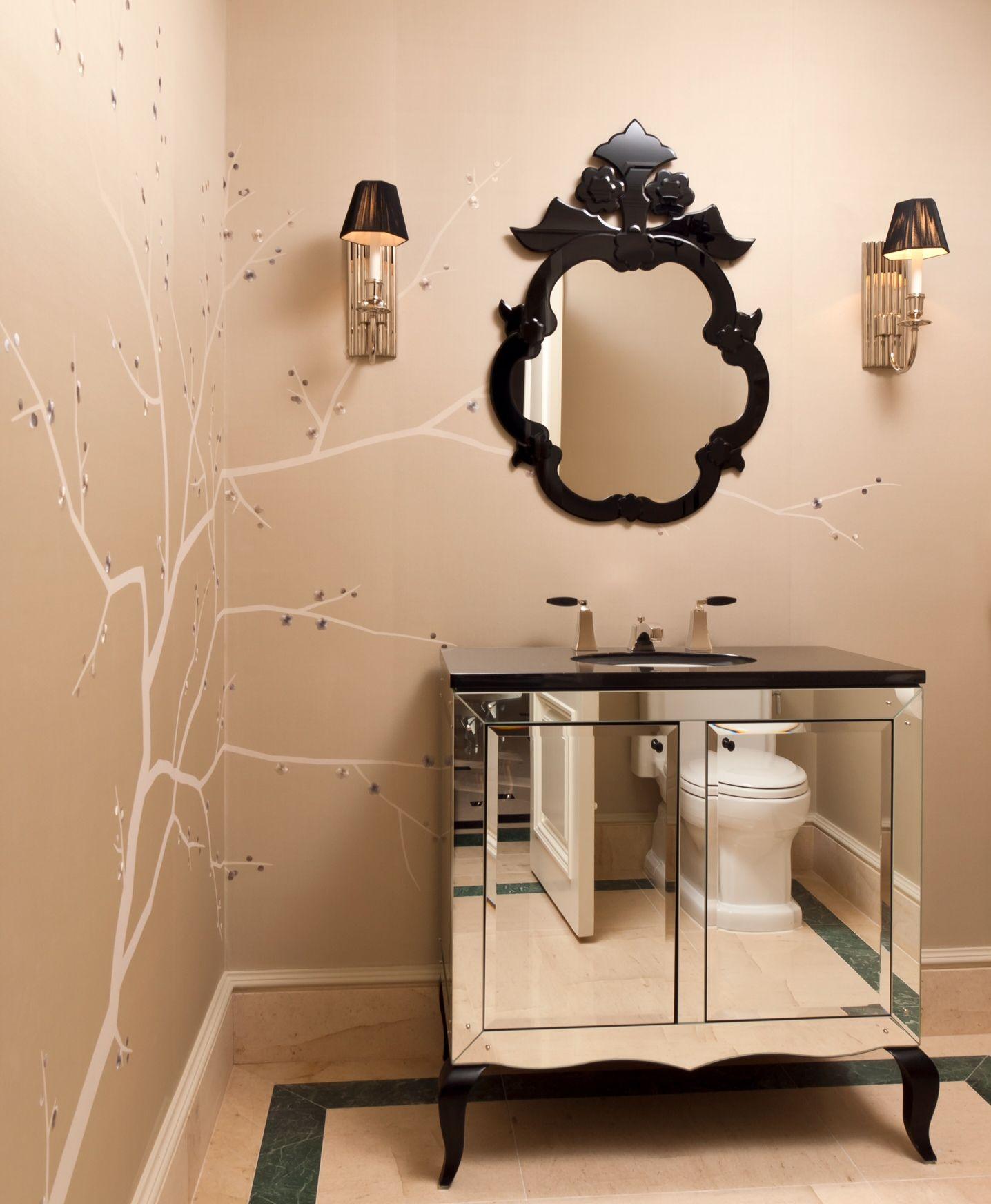 CEBULA DESIGN: Powder Room in Marshall, VA. #cebuladesign #powderroom #interiordesign #allswellthatendswell