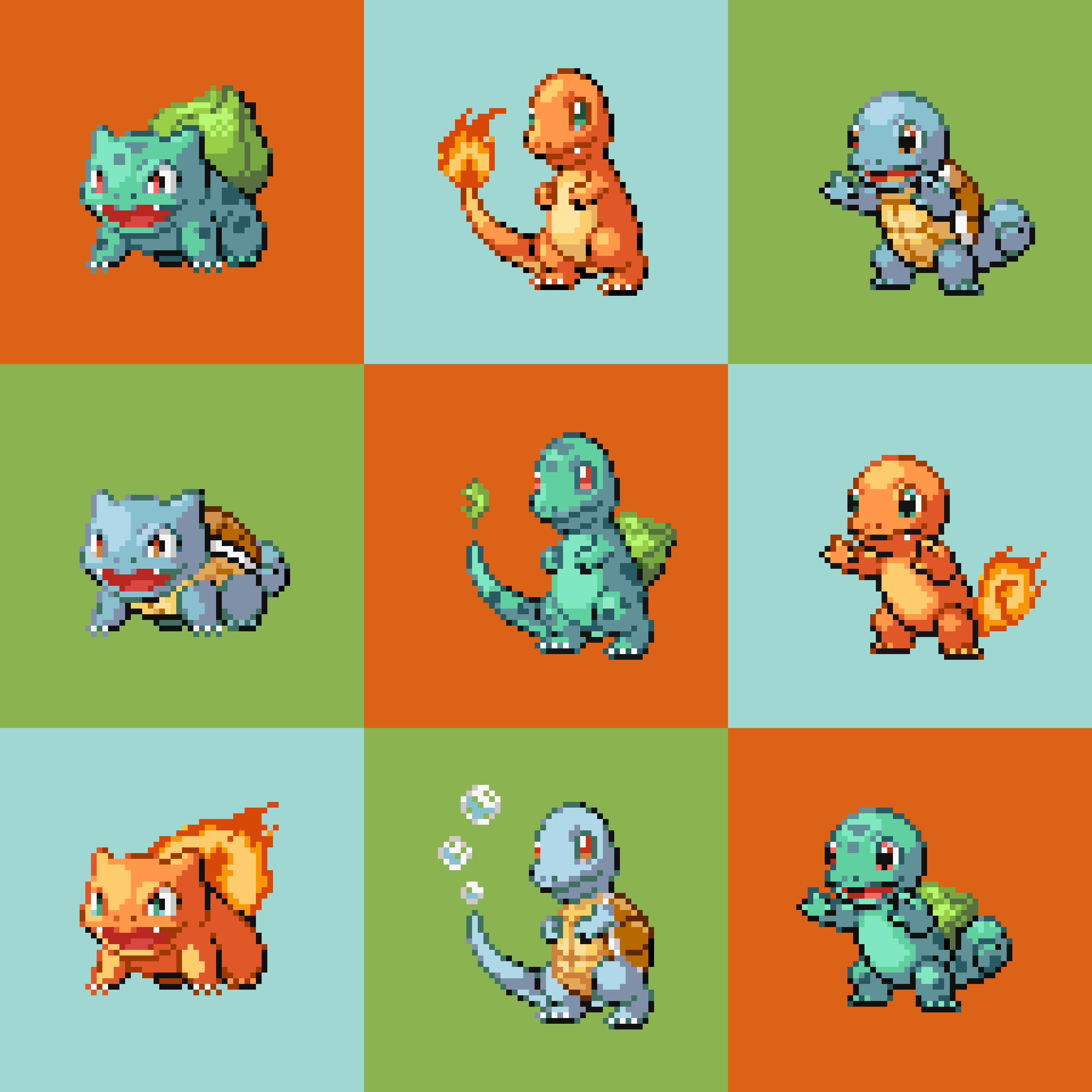 Remixed pokemon squirtle charmander and bulbasaur pokemon