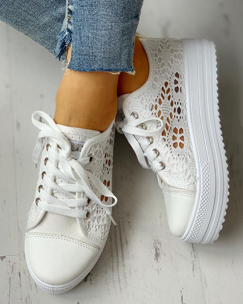 Colorblock eyelet hollow out laceup sneakers casual