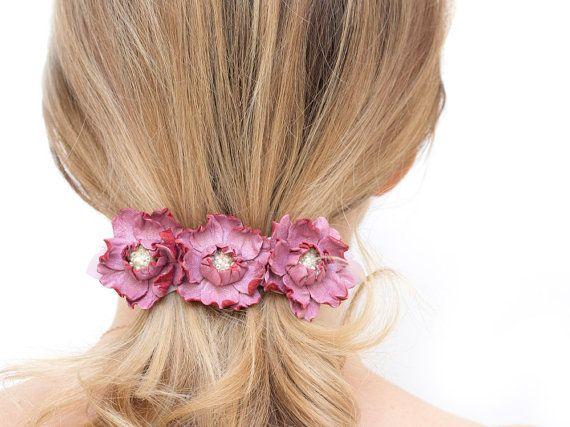 Leather flowers barrette flower hair barrette pink by katrinshine , #katrinshine #handmade #etsy #pink #hair_accessory #barrette #french_barrette #hair_clip