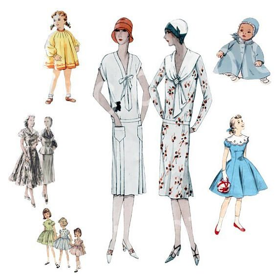 Digital Collage of Vintage Children's and Woman's Fashion Illustration  - 40   JPG images - Digital  Collage Sheet