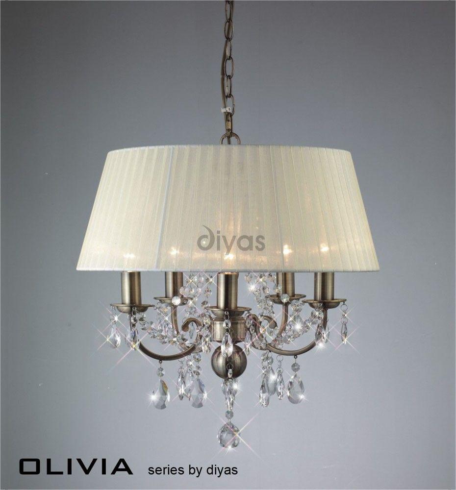 Suspension Olivia 5 ampoules en laiton antique et cristal abat jour