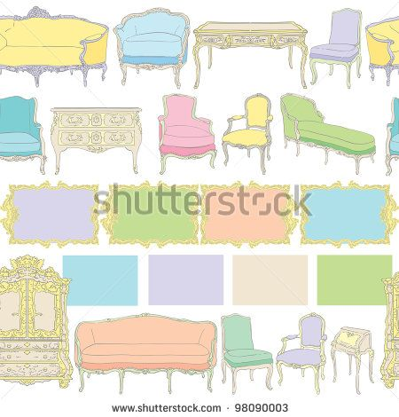 stock-photo-rococo-furniture-pattern-colored-doodles-on-white-98090003.jpg (450×470)