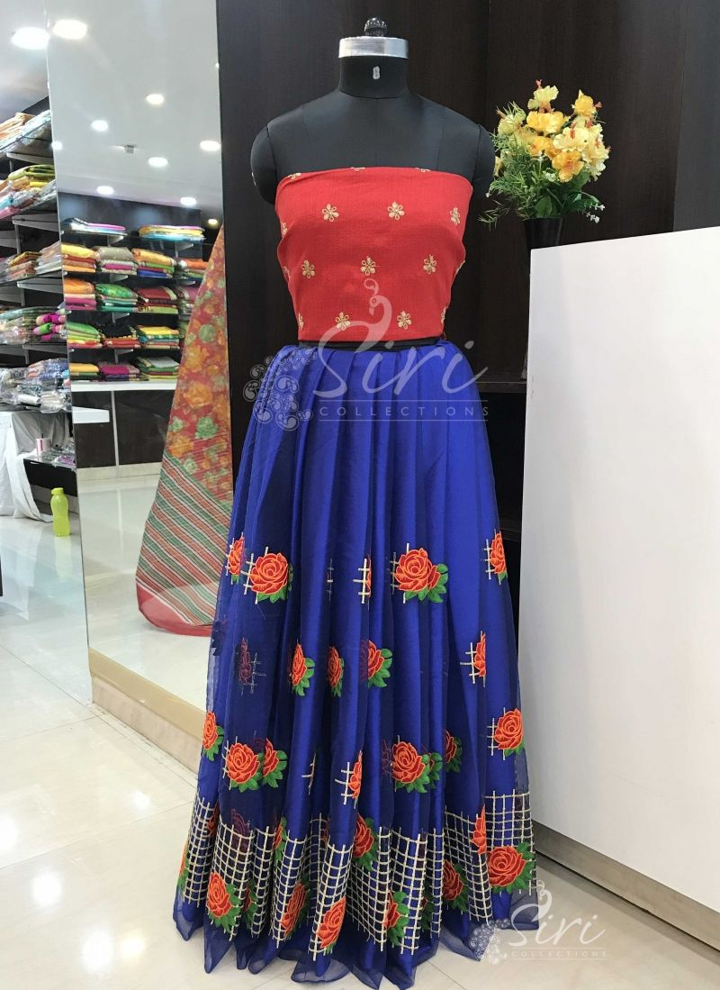 27143d7d85342 Designer Crop Top Lehenga Fabric Set in Dark Blue Net with flower design  embroidery work and
