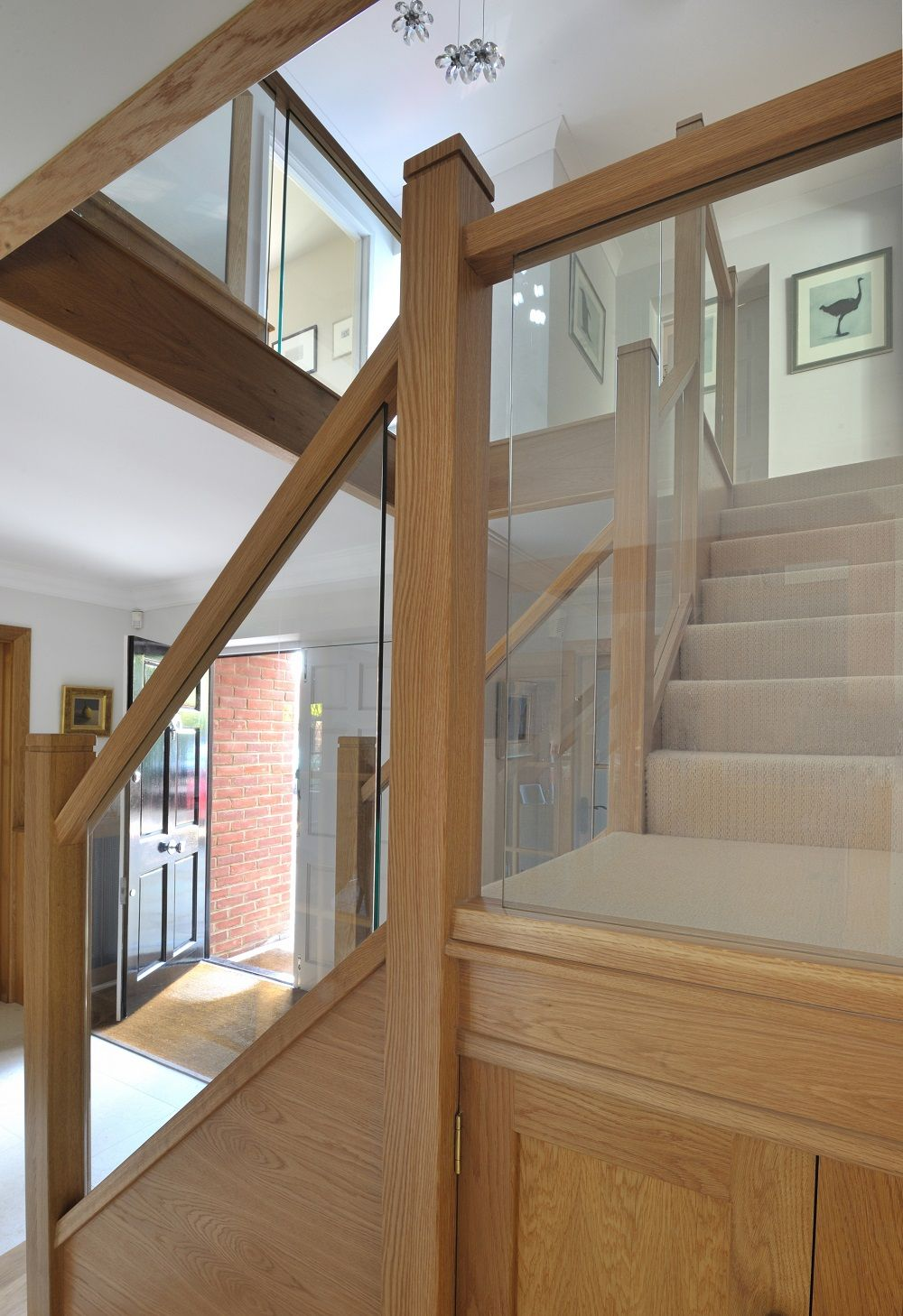 Best A Centrally Positioned Oak And Glass Staircase With A Half 400 x 300