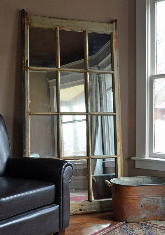 Large Leaning Mirror 8 Pane Window Frame With Vintage Mirror Glass Home Window Frame Large Leaning Mirror