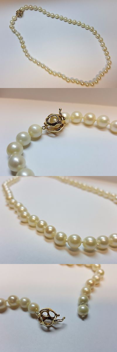 Pearl 164333: 18 Pearl Necklace. 7Mm Pearls With 14K Yellow Gold Cage Clasp. -> BUY IT NOW ONLY: $349.99 on eBay!