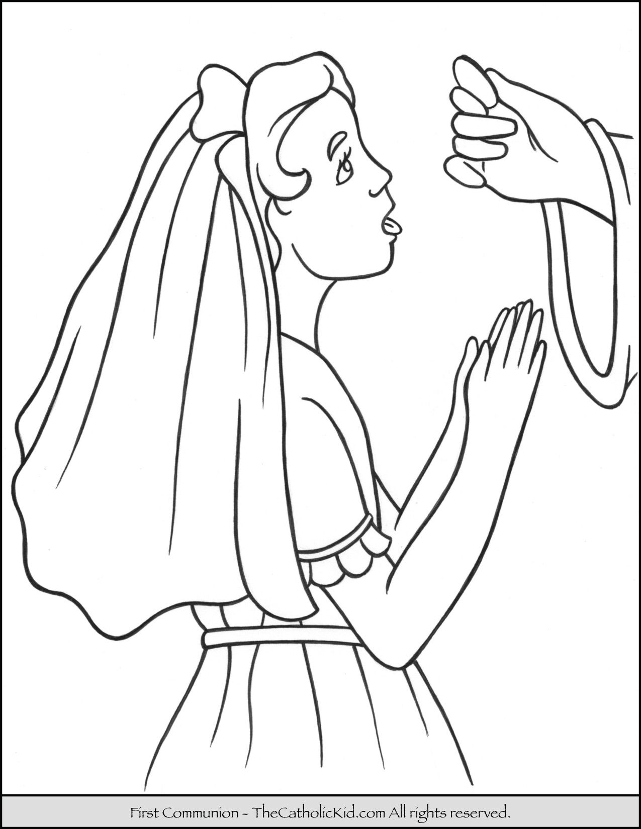 First Communion Girl Coloring Page Thecatholickid Com Coloring