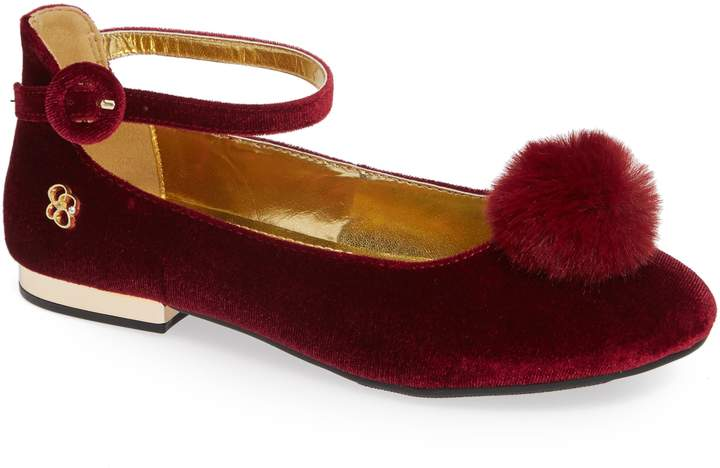 3fbd312f8dbb1 Toddler Girl's Jessica Simpson Ankle Strap Pom Flat, Size 11 M - Red ...