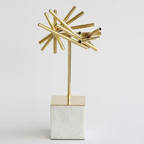 Tubular Metal Burst Object with Stone Base by Global Views.
