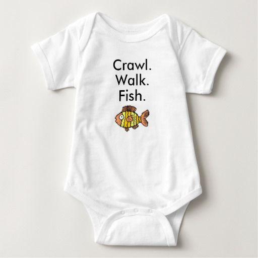 Crawl Walk Fish Fishing Baby Bodysuit