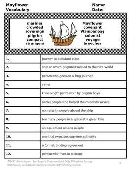 Mayflower, Thanksgiving Reading Comprehension Activities ...