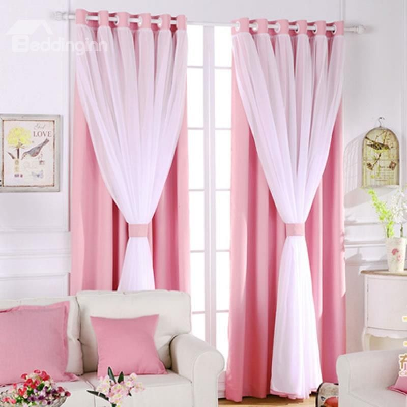 Romantic White Sheer And Pink Shading Cloth Sewing Together Grommet Top Custom Blackout Curtains Curtains Living Room Curtains Cool Curtains