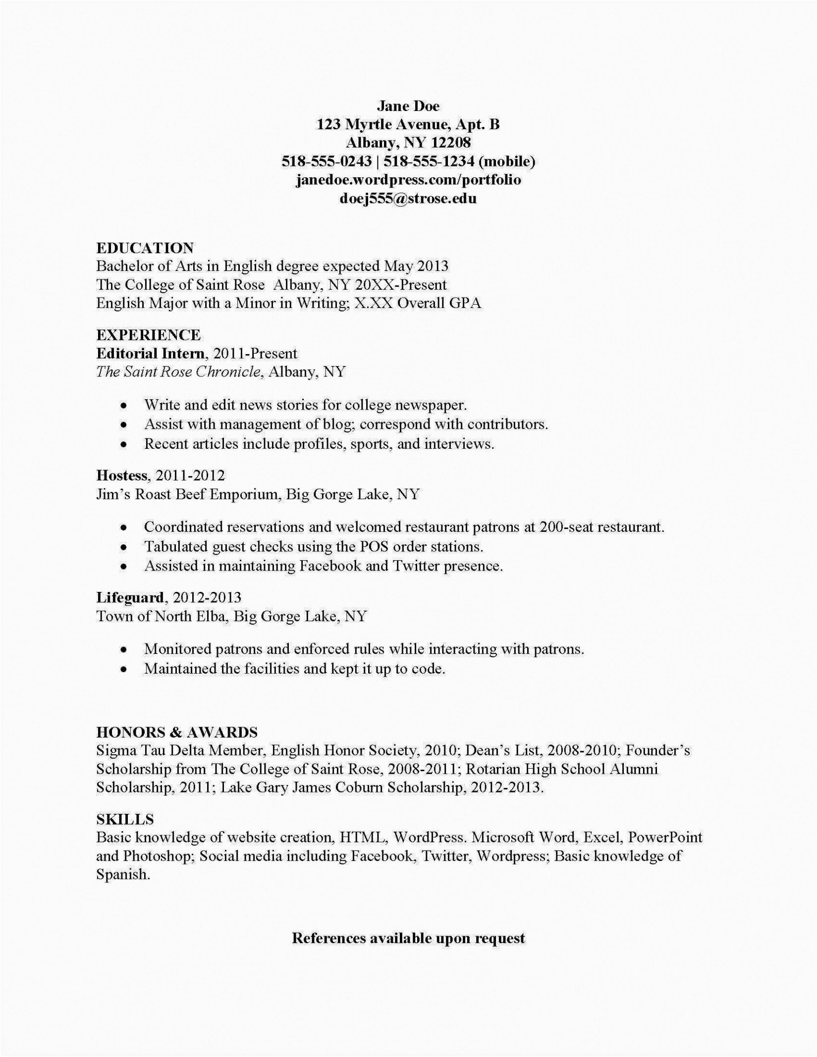 32 Best Of Deans List On Resume In 2020 English Major Resume