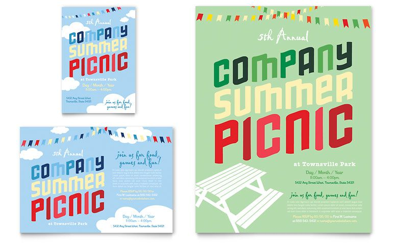 Company Summer Picnic Flyer \ Ad Template Design branding ideas - free brochure templates microsoft word