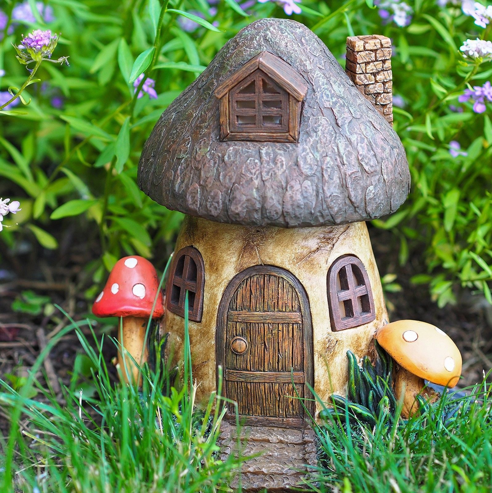 Solar Fairy Home Mushroom Gnome House Garden Outdoor Light Patio ...