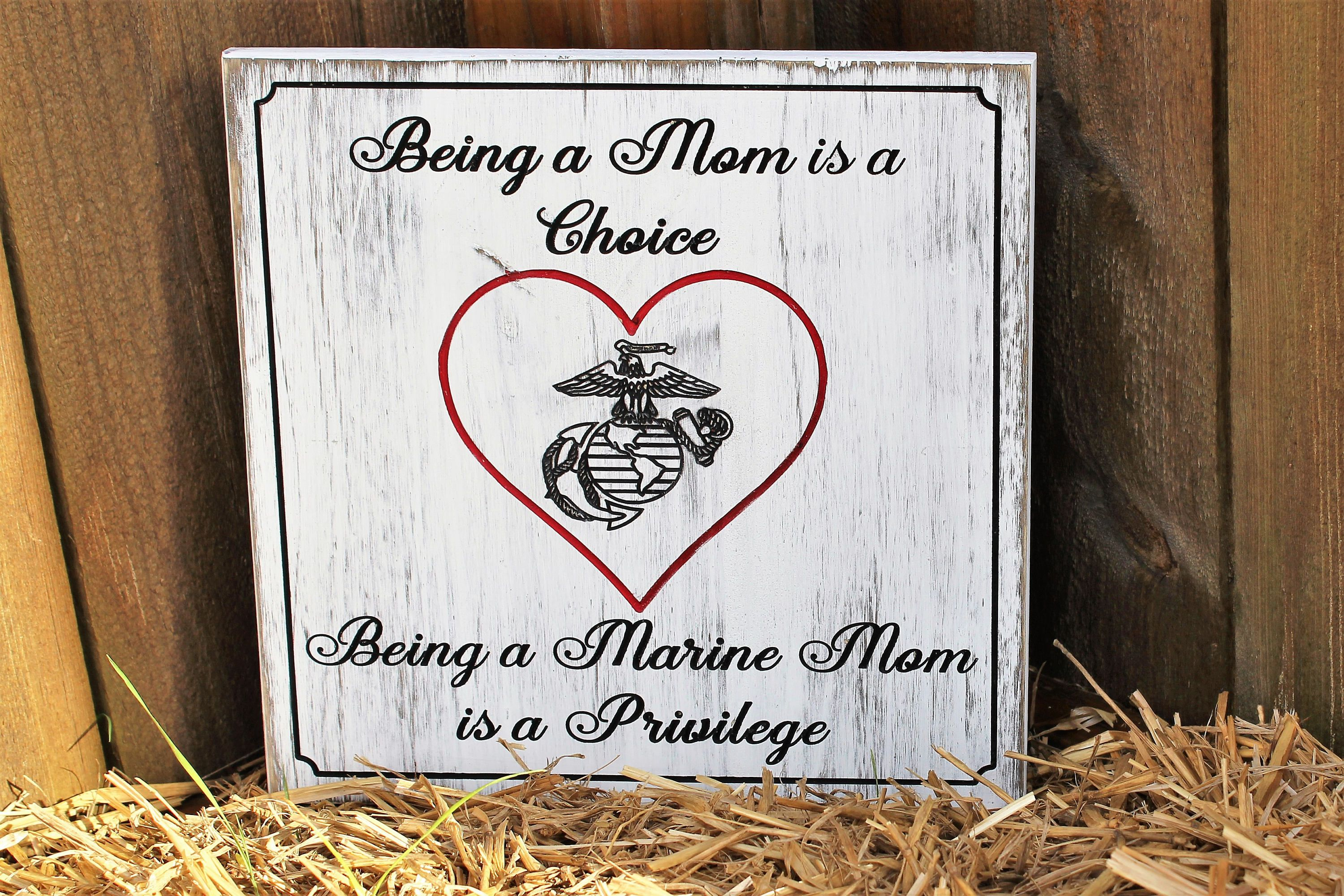 Usmc mom marine corps mom engraved wood sign mothers day gift