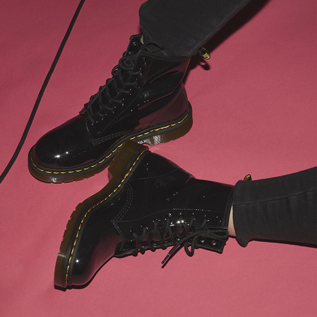 82afd1b74b7a Dr. Martens 8 Eyelet Lace Up Boots Black Patent £110.00 | OFFICE ...