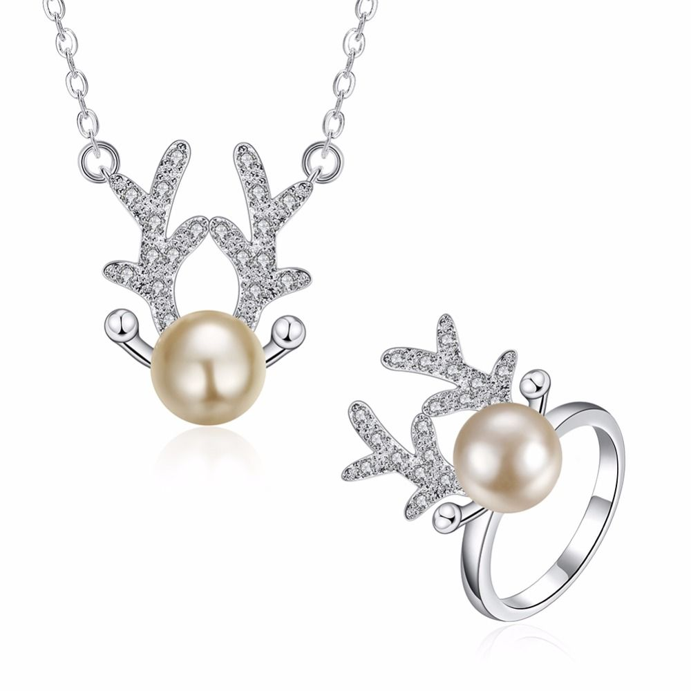 Simulated pearl pendant ring set colar jewelry ladies vintage