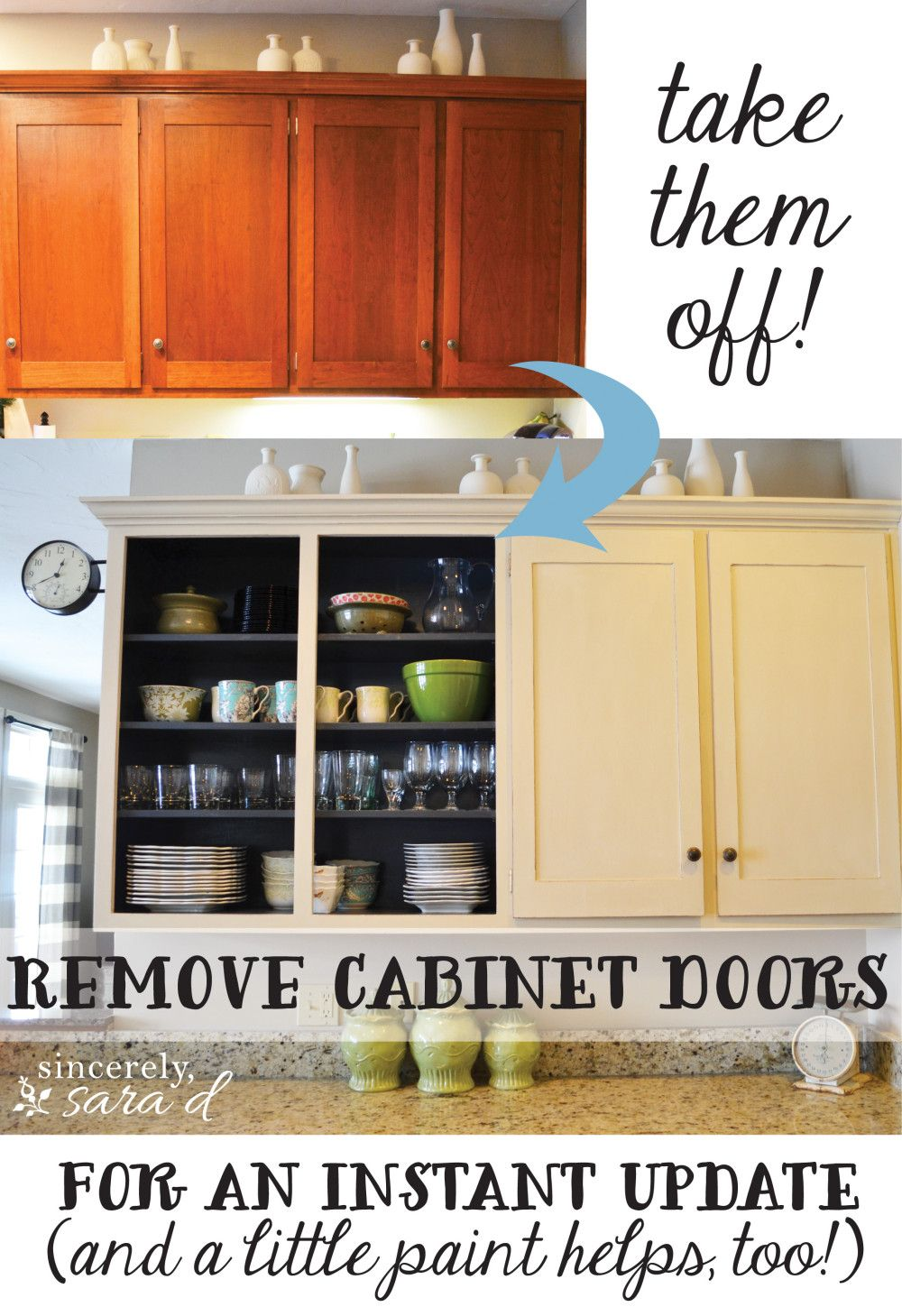Remove Cabinet Doors - Instant Kitchen Update - Sincerely Sara D.  sc 1 st  Pinterest & Remove Cabinet Doors - Instant Kitchen Update | Kitchen updates ...