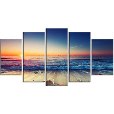 Designart Beautiful Sunrise Over Blue Sea 5 Piece Photographic Print On Wrapped Canvas Set Wayfair In 2020 Wall Art Pictures Beach Canvas Paintings Seascape Artwork