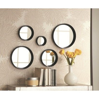 Threshold 5 Piece Round Mirror Black