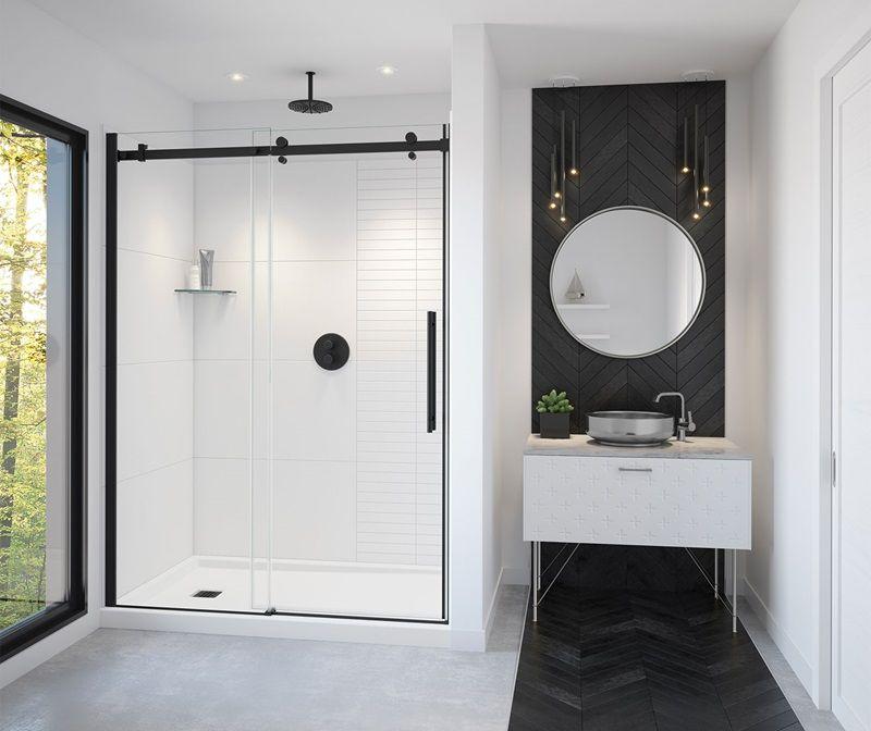 Vela Sliding Shower Door 56 59 X 78 In 8 Mm Maax In 2020 Sliding Shower Door Shower Doors Small Bathroom Inspiration
