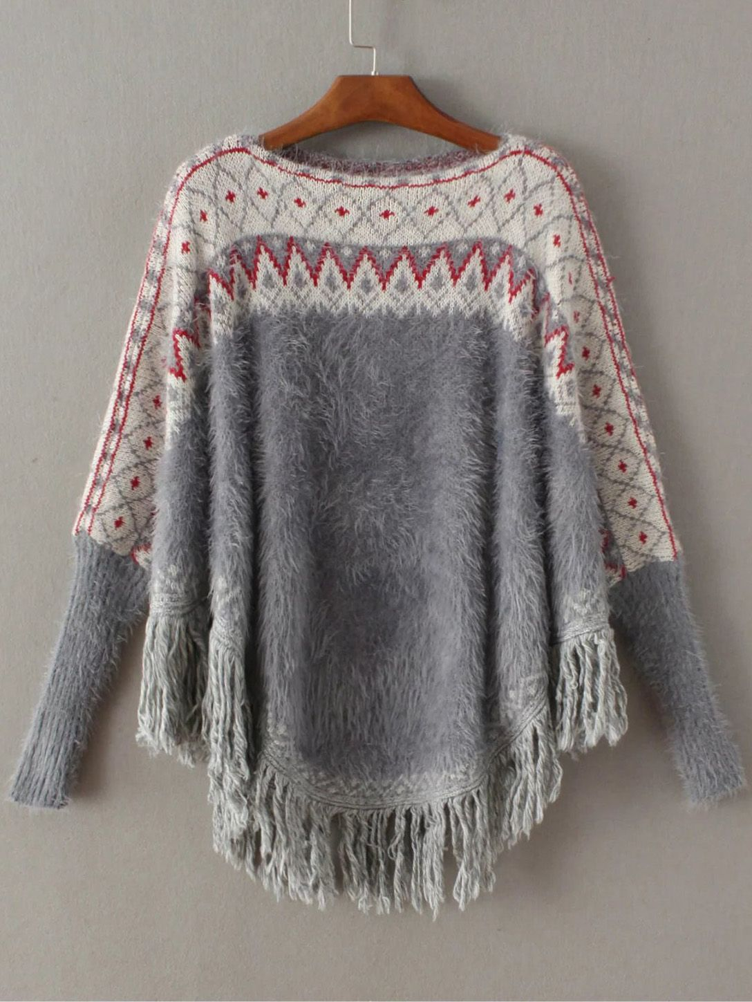 Shop Grey Geometric Fringe Poncho Mohair Sweater online