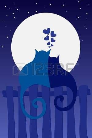 Dos gatos de dibujos animados en el amor mirando a la luna llena