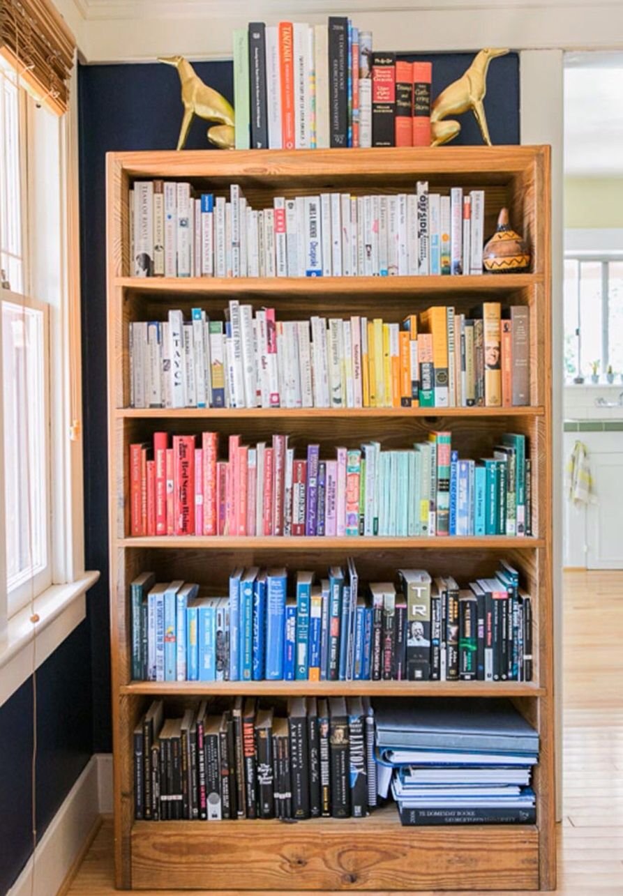 Color coordinated book shelf book tr tng tng thng hoa never ever thought of shelving books by color an olympian and photographers do it yourself craftsman solutioingenieria Images