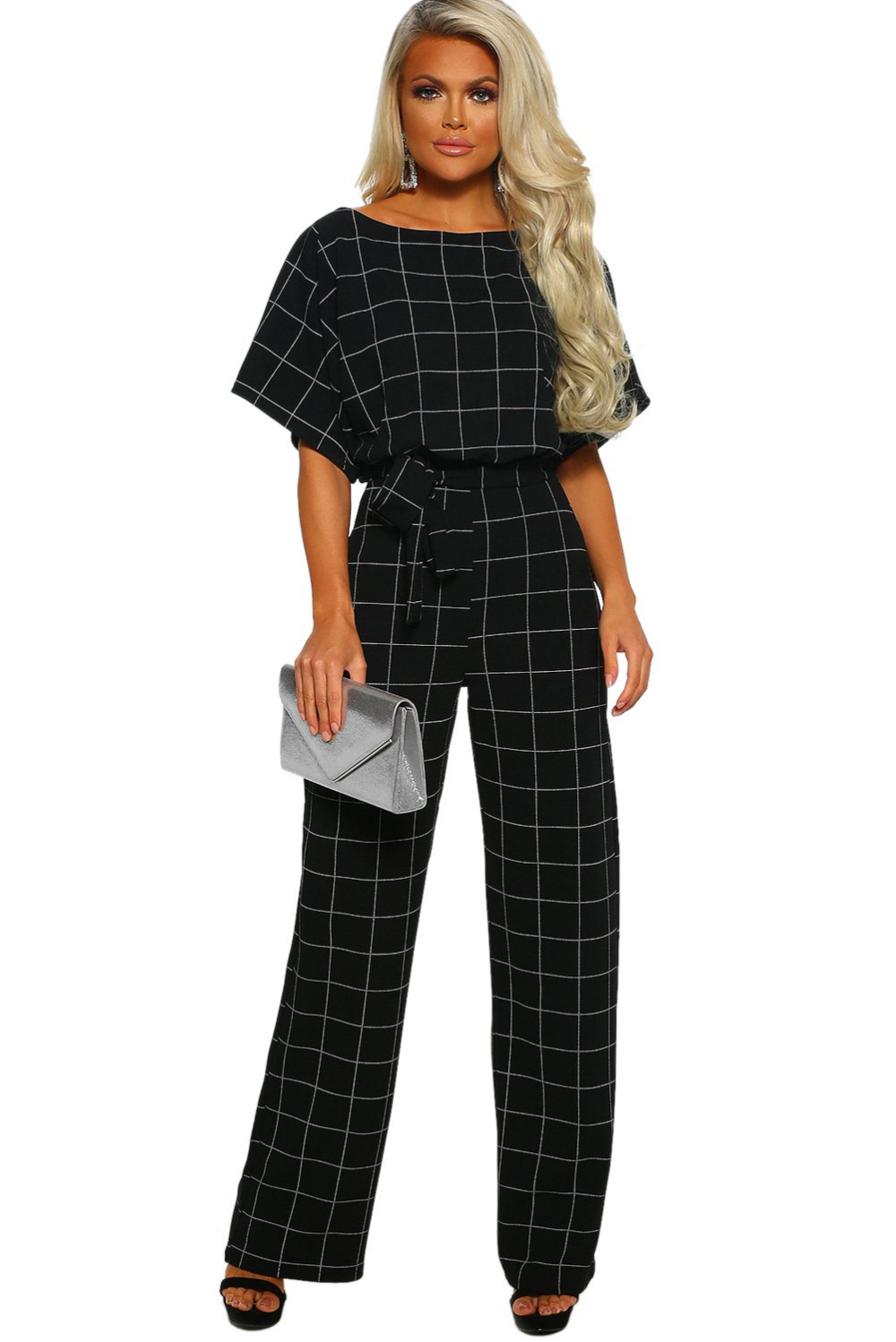 Black Boat Neck Short Sleeve Checked Belted Wide Leg