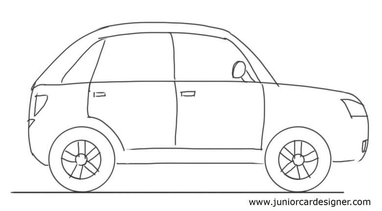 Car Drawing Tutorial Hatchback Side View Car Drawing For
