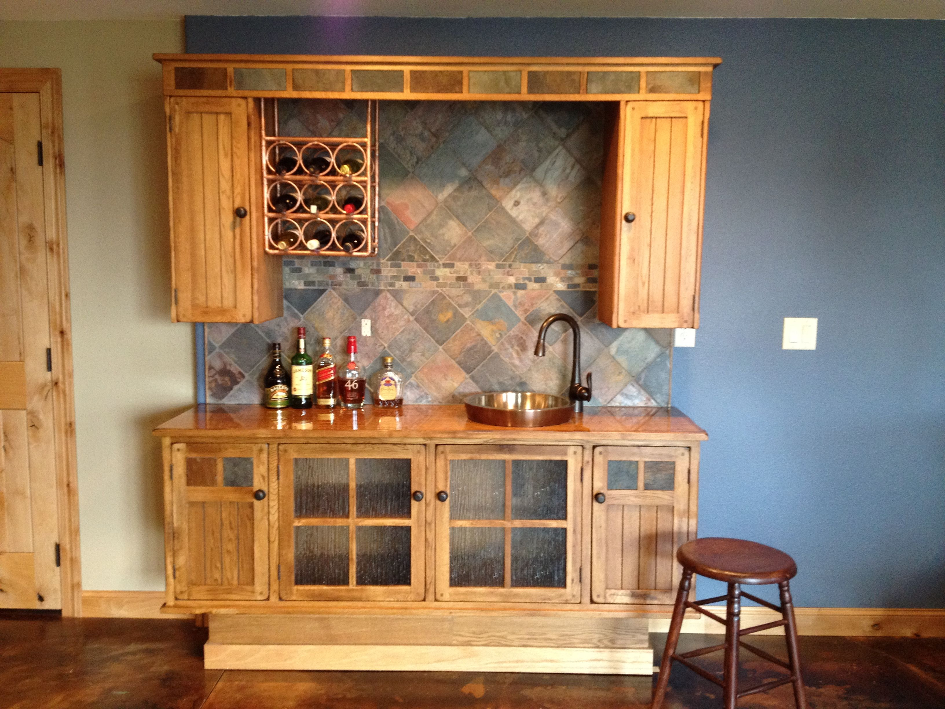Entertainment Center Converted To A Wet Bar. Notice The Wine Rack Made From  Copper Tubing